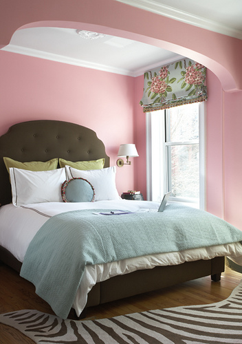 Pastel bedroom in pink blue and green interiors by color for Pink and blue bedroom