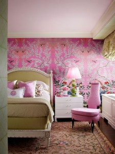 pink green bedroom - Interiors By Color