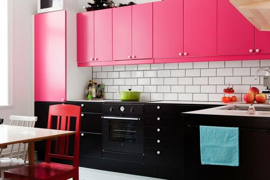 Pink Kitchen With Black