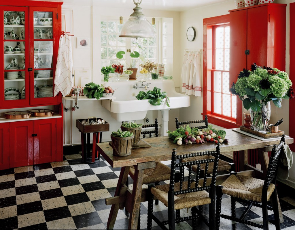 Country Kitchen with Bold Red Cabinets