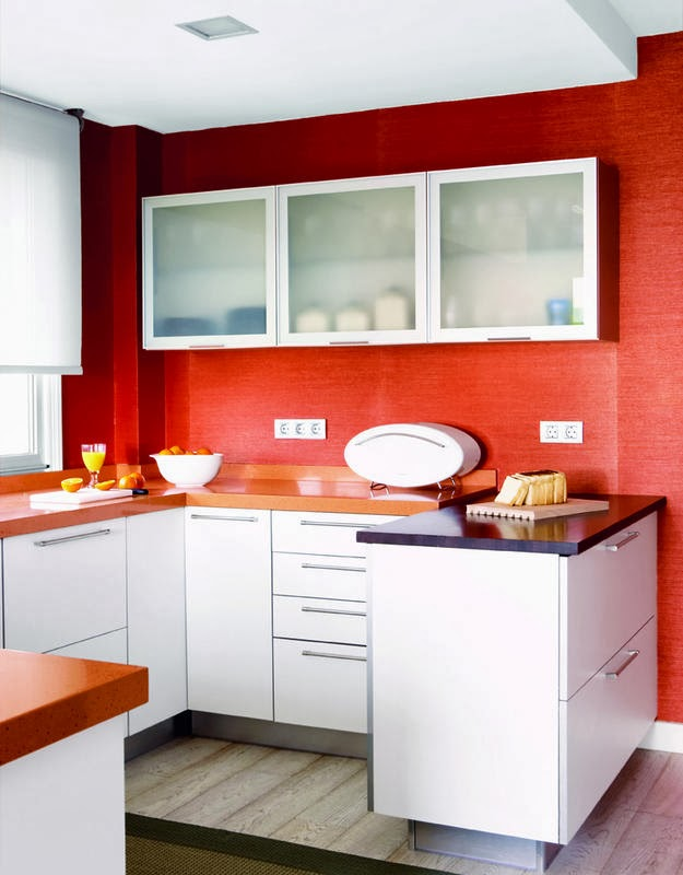 Red wall kitchen ideas for Kitchen ideas white cabinets red walls