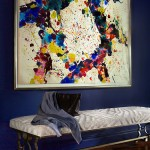 Colorful Art and Blue Walls