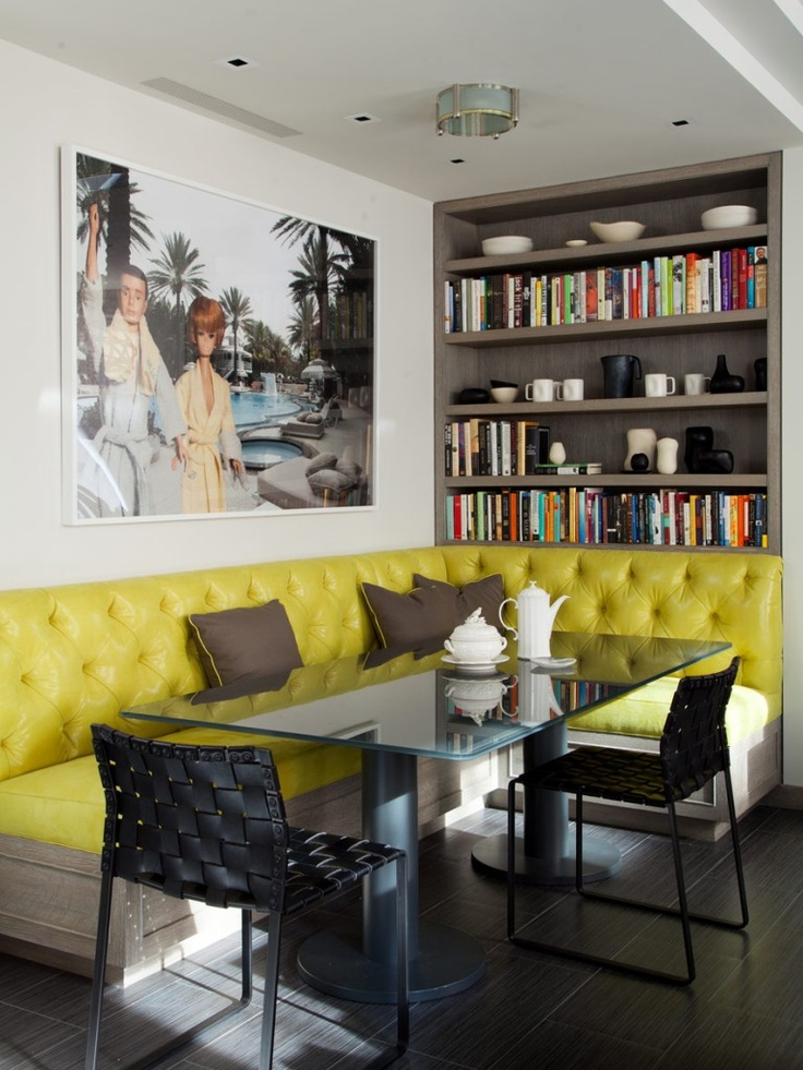 yellow tufted breakfast nook