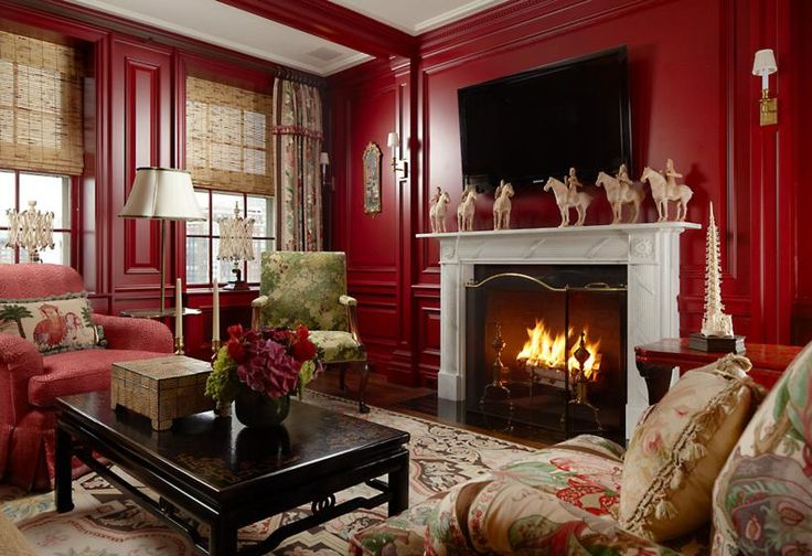 Red Library By Scott Snyde Interiors By Color