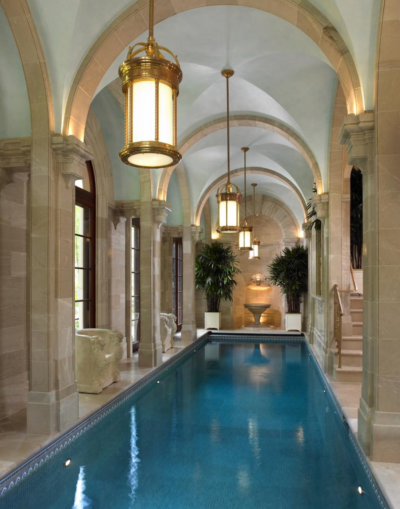 Classic style indoor pool interiors by color for Home indoor pools designs