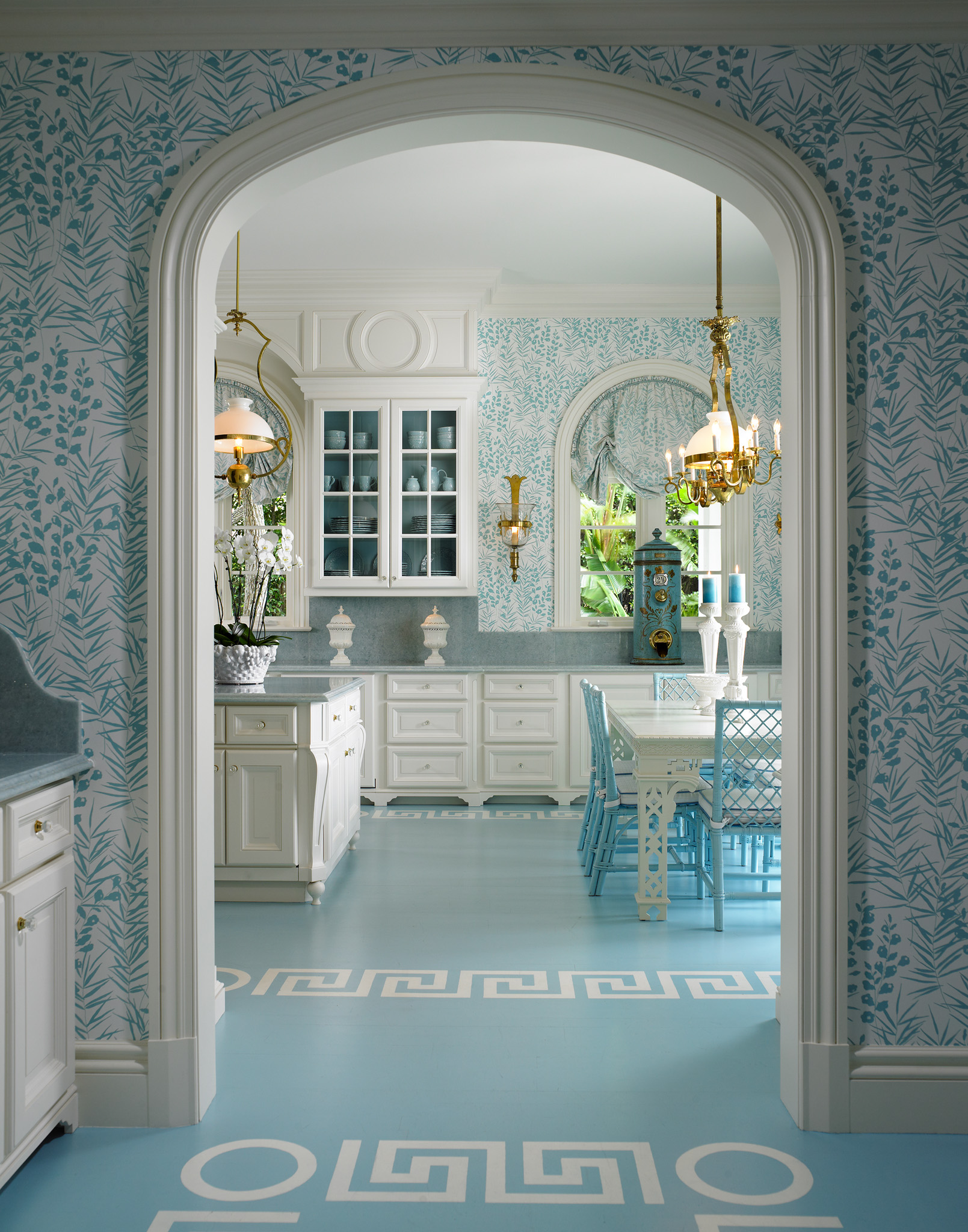 Light Blue Kitchen Cottage Light Blue And White Kitchen Interiors By Color