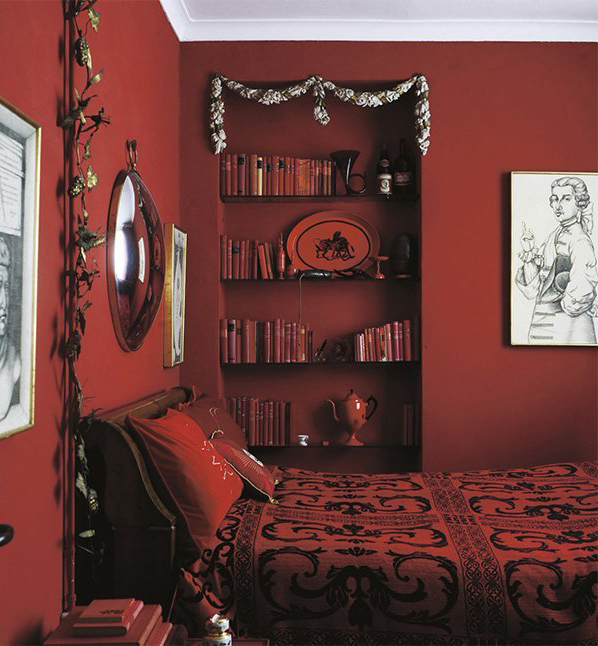 The Iconic Interior 1900 to the Present red bedroom