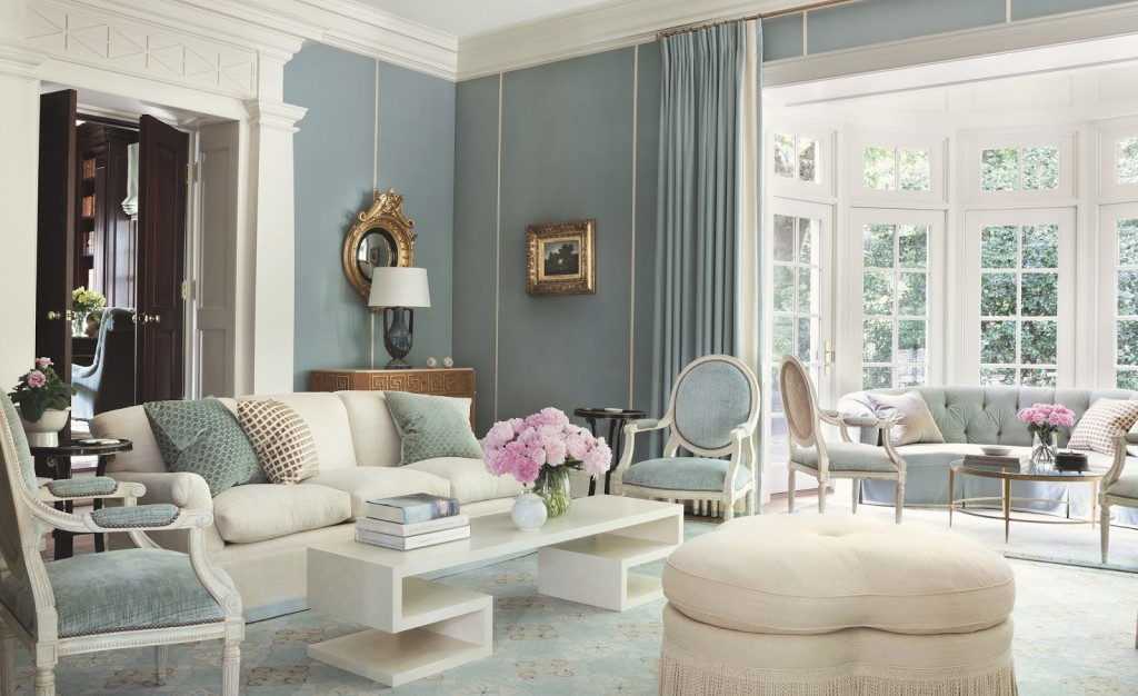 White And Light Blue Classic Living Interiors By Color