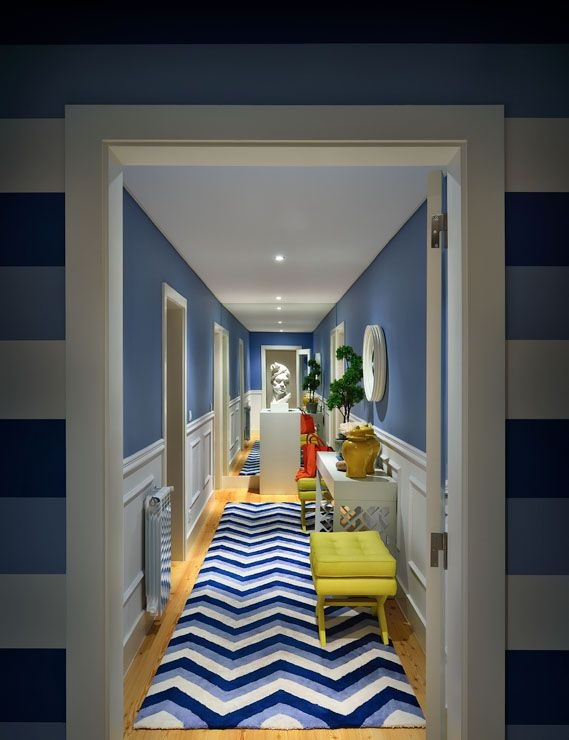 blue and yellow chevron hallway