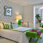 Contemporary Bedroom in Grass Green and Blue