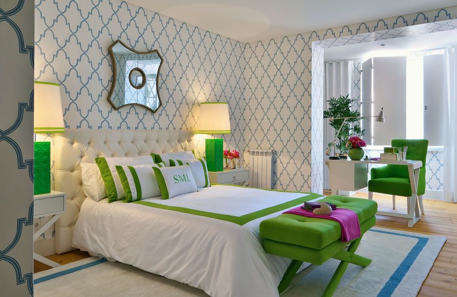 contemporary bedroom in grass green and blue interiors by color