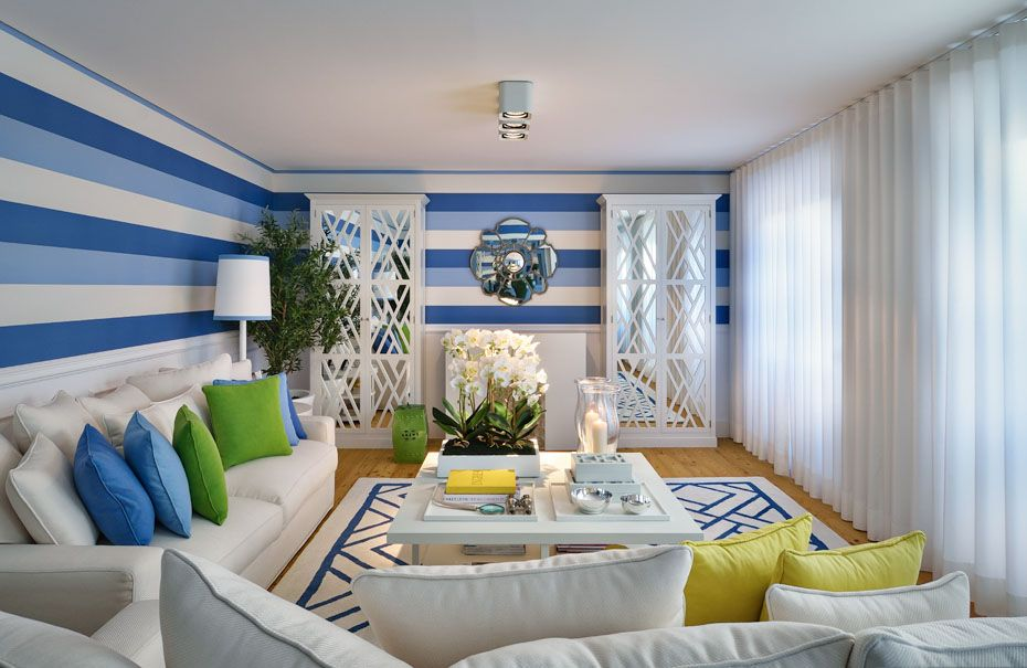 blue yellow green contemporary living