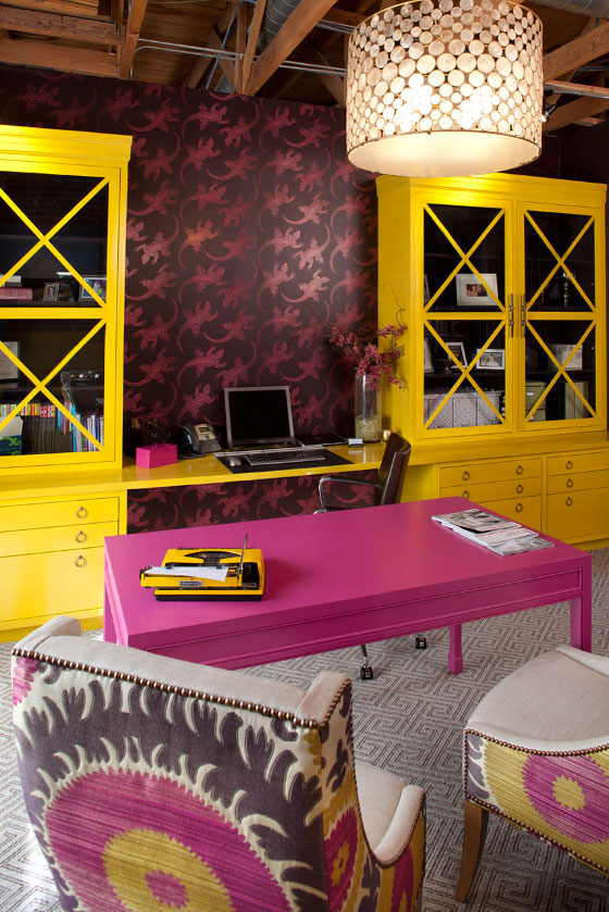 Contemporary Pink and Yellow Study