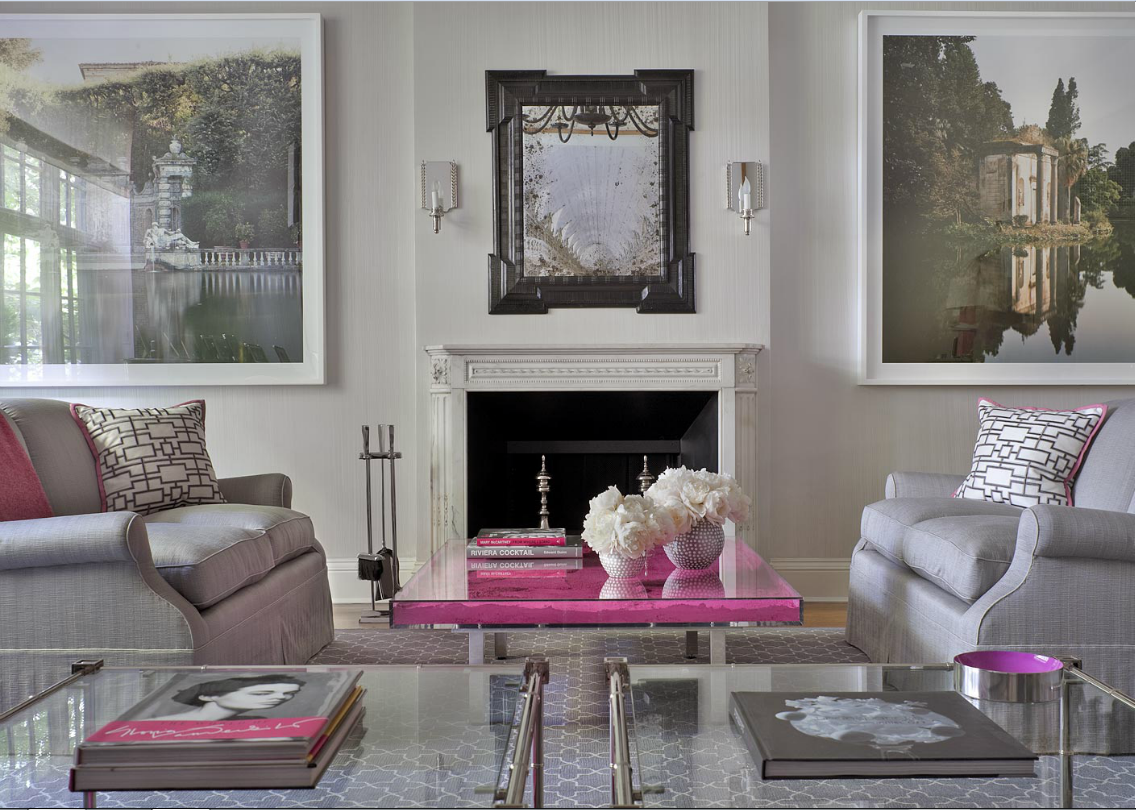 pink and gray space interiors by color
