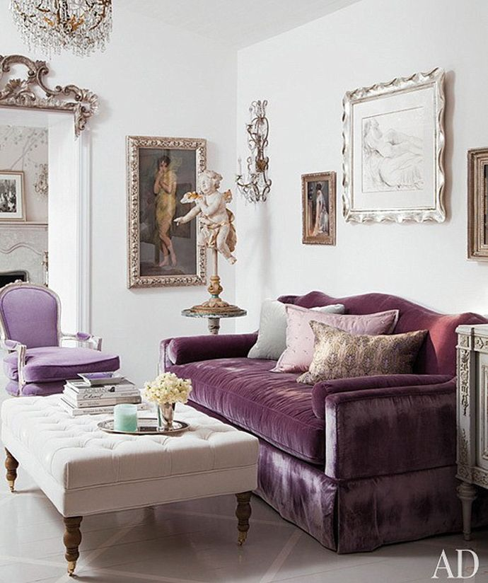 Mauve Purple Velvet Couch