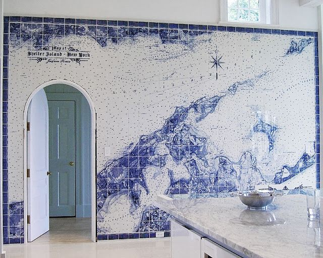 Nautical Map Tiles Interiors By Color