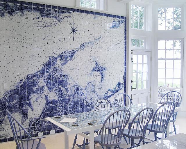 nautical maps tiles dining