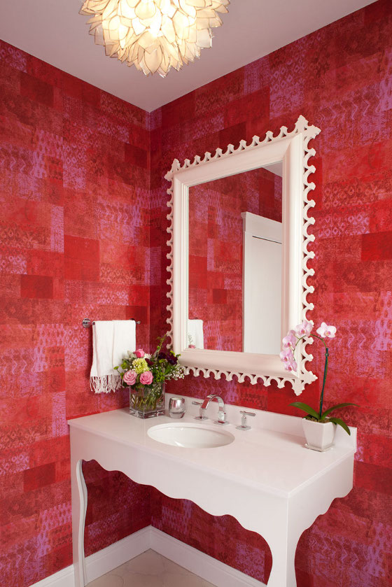 Textured Red Wallpaper Bathroom. White Tub Red Walls   Interiors By Color