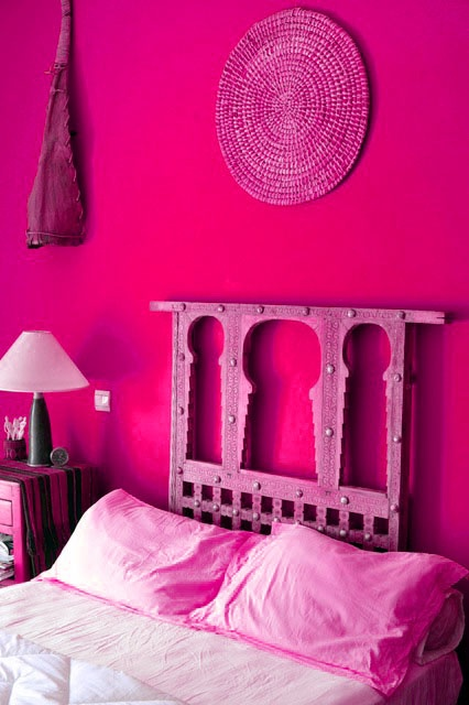 saturated pink bedroom