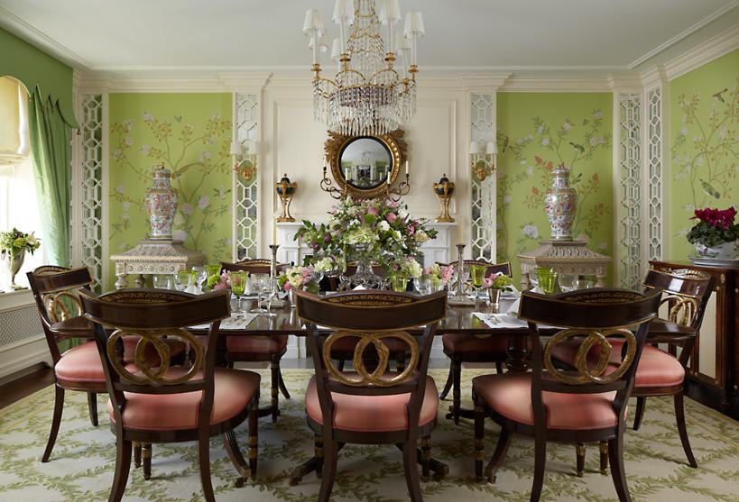 Classical Chinoiserie Green Dining Interiors By Color