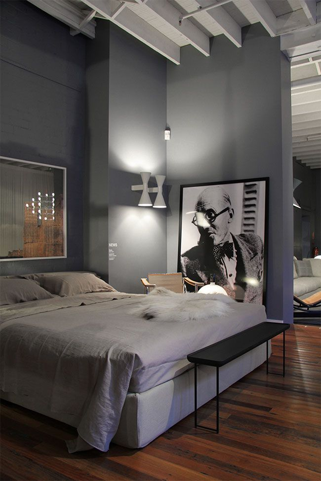 Neutral Grey Masculine Bedroom