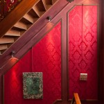 Red Damask, Wood and Chandeliers