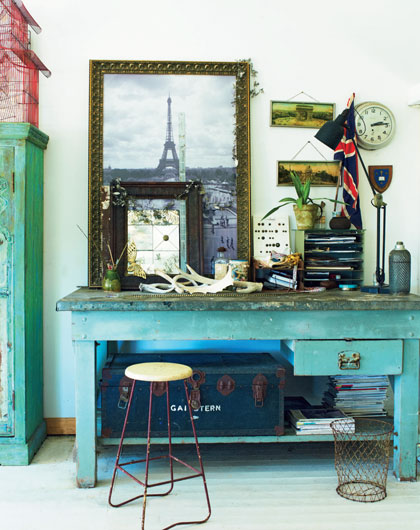 Rustic Turquoise Painted Desk