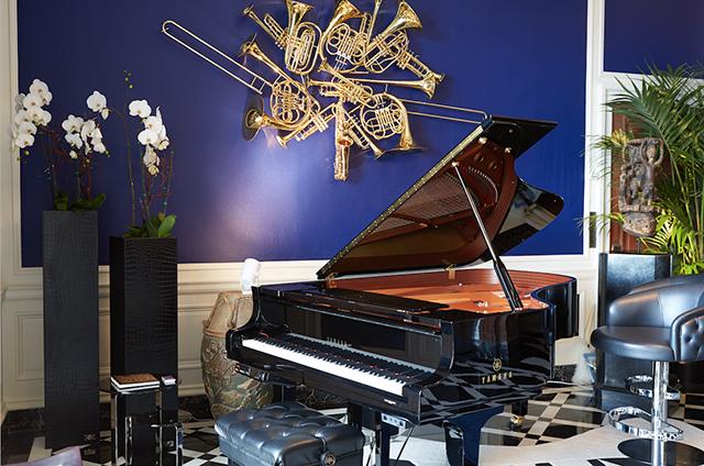 Navy Blue Vevet piano