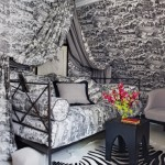 Black Toile Canopy Bed