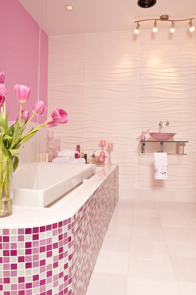 contemporary-bathroom pink mosaic tiles 3