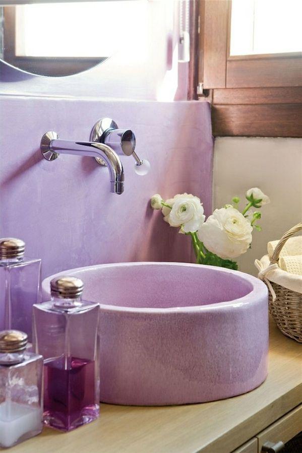 Round Lavender Bathroom Basin