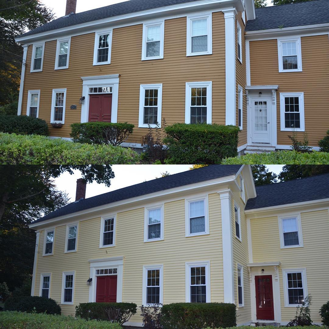 Before and after of a house exterior painted in Hawthorne Yellow