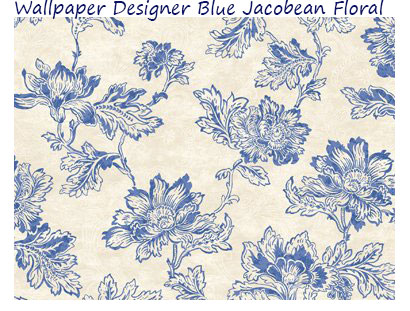 Wallpaper-Designer-Blue-Jacobean-Floral-on-Cream-Faux-with-White-Leaf-Scroll