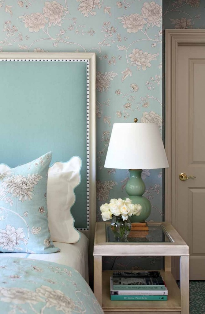 bedroom in duck egg blue