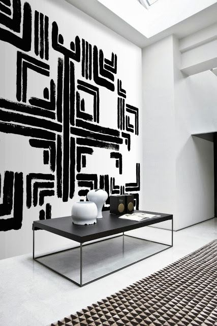 Black white geometric art interiors by color for Modern black and white wall art