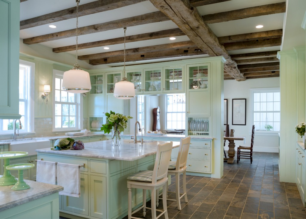 classic kitchen in mint green 1