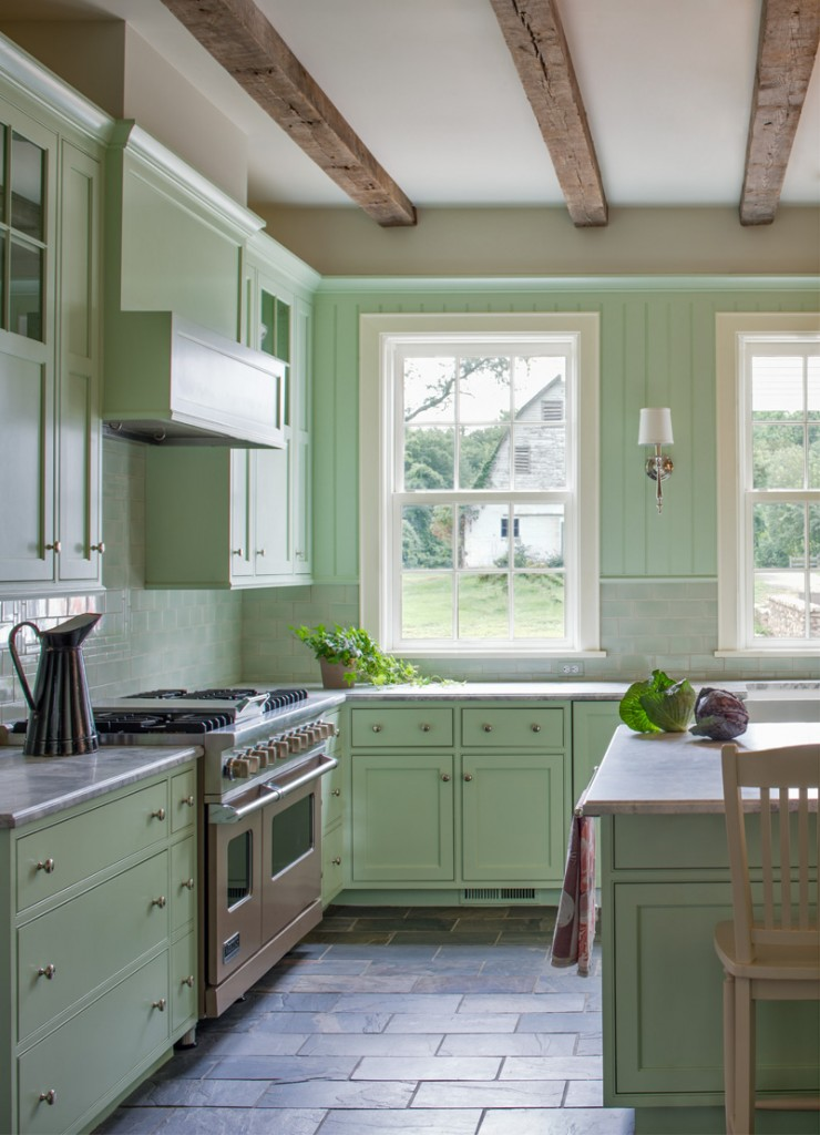 classic kitchen in mint green