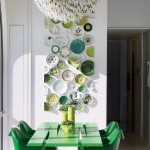 Contemporary Green With Plates on the Wall
