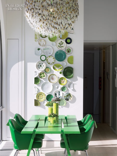 green plates walls dining