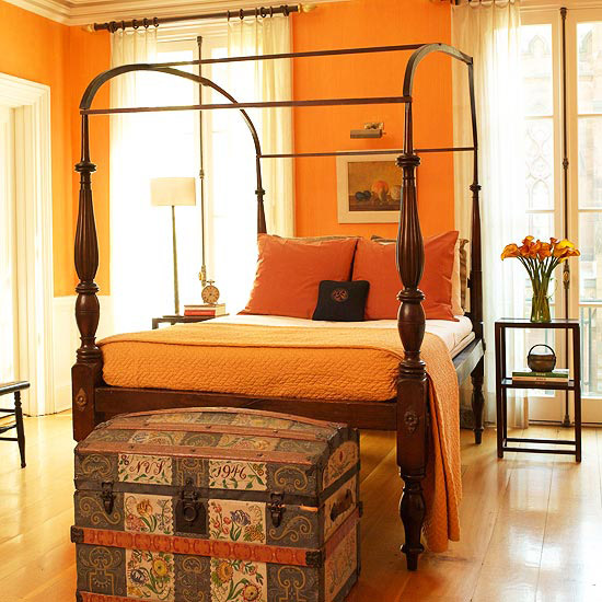Bedroom Colors To Make It Look Bigger Grey Yellow Blue Bedroom Bedroom Bench Design Ideas Blue And White Bedroom Decor: Light Bright Orange Bedroom