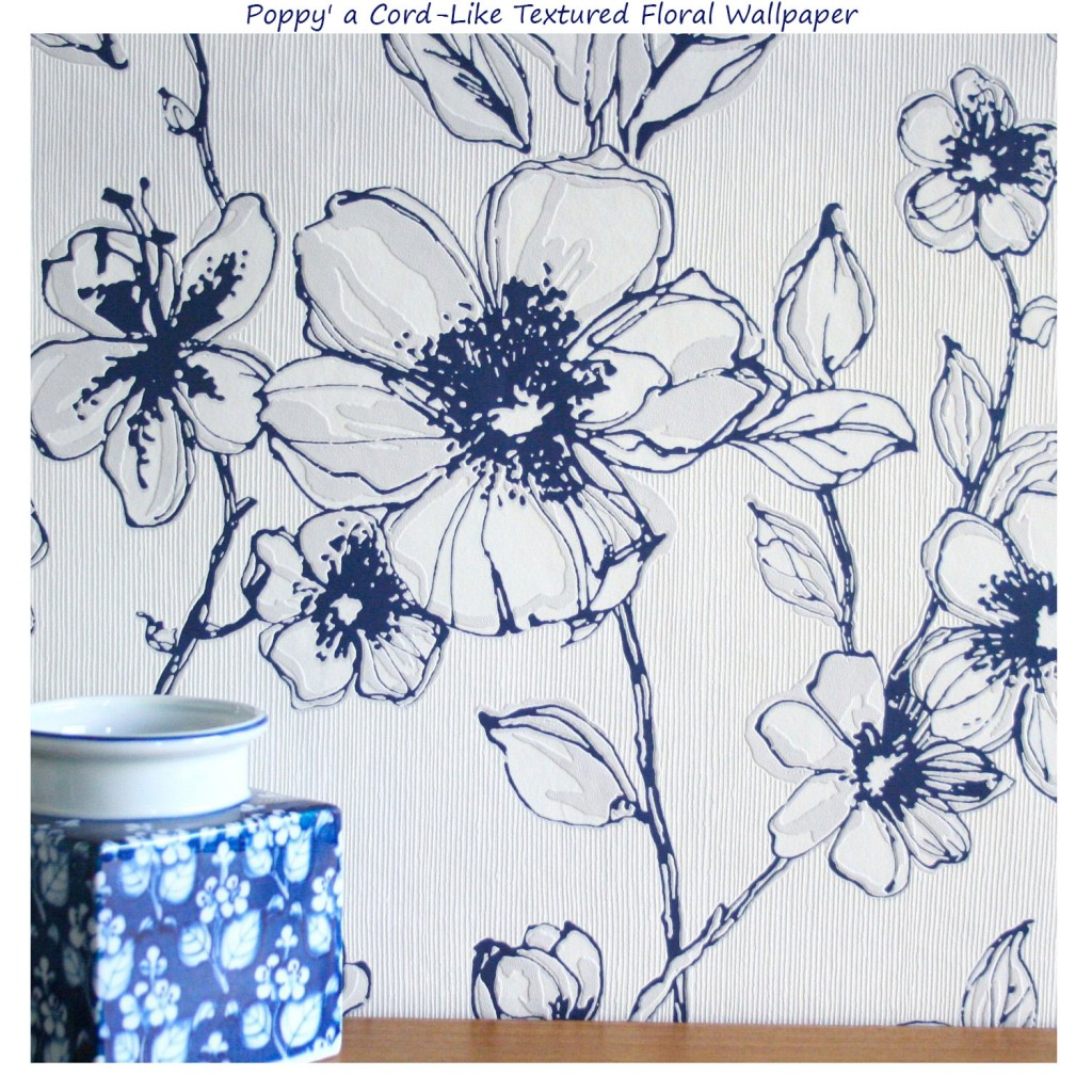 blue and white poppy wallpaper