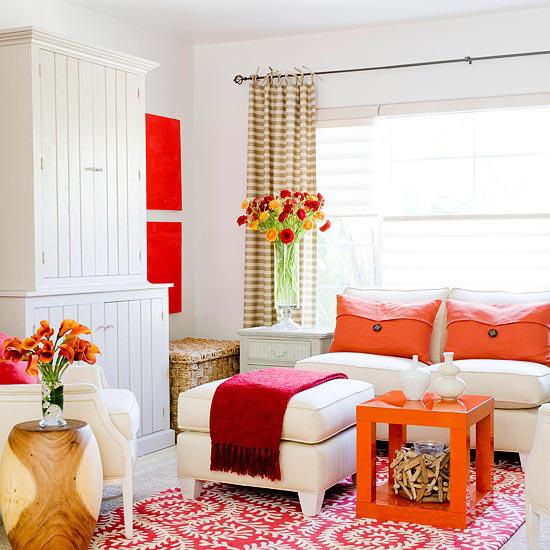 orange white living room