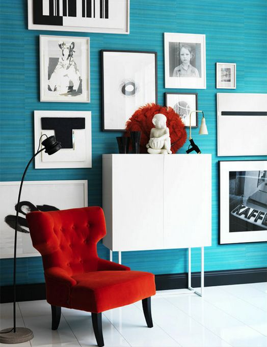 Red And Turquoise Modern Interior, Red And Turquoise Living Room
