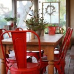 Red Painted Metal Chairs