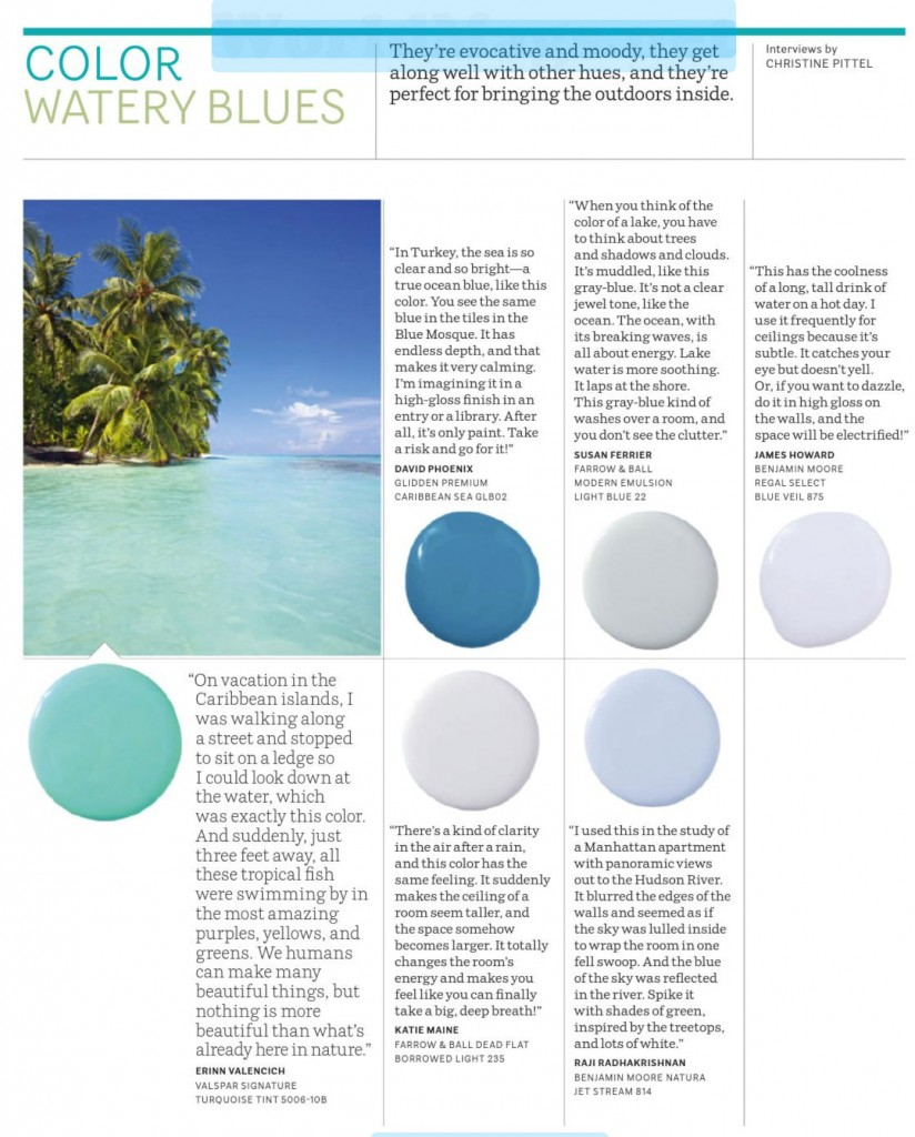 Paint palette watery blues interiors by color for Watery paint color