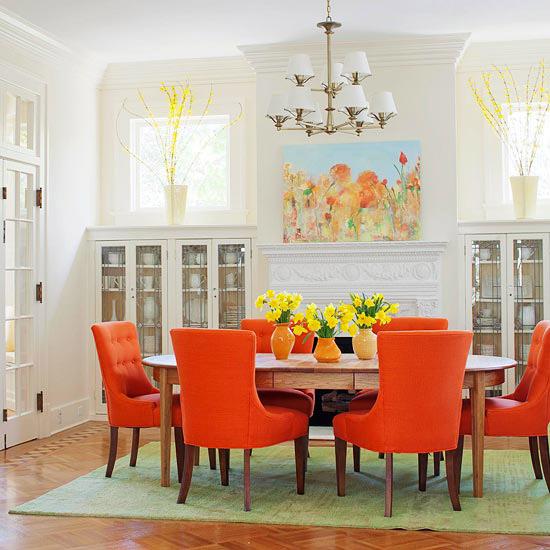 white orange happy dining