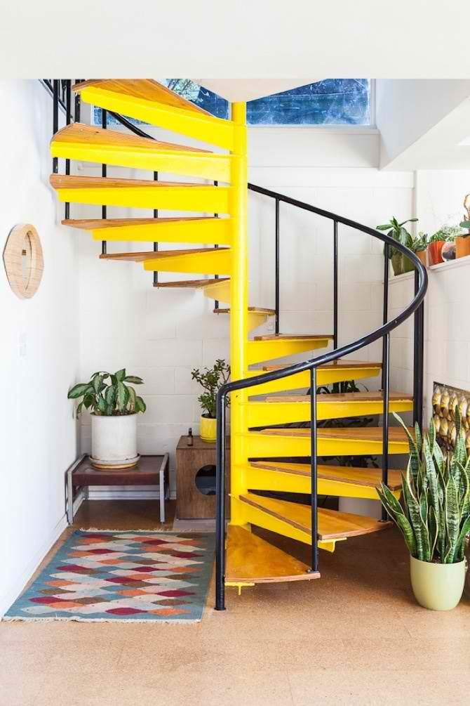 Yellow Spiral Staircase Interiors By Color