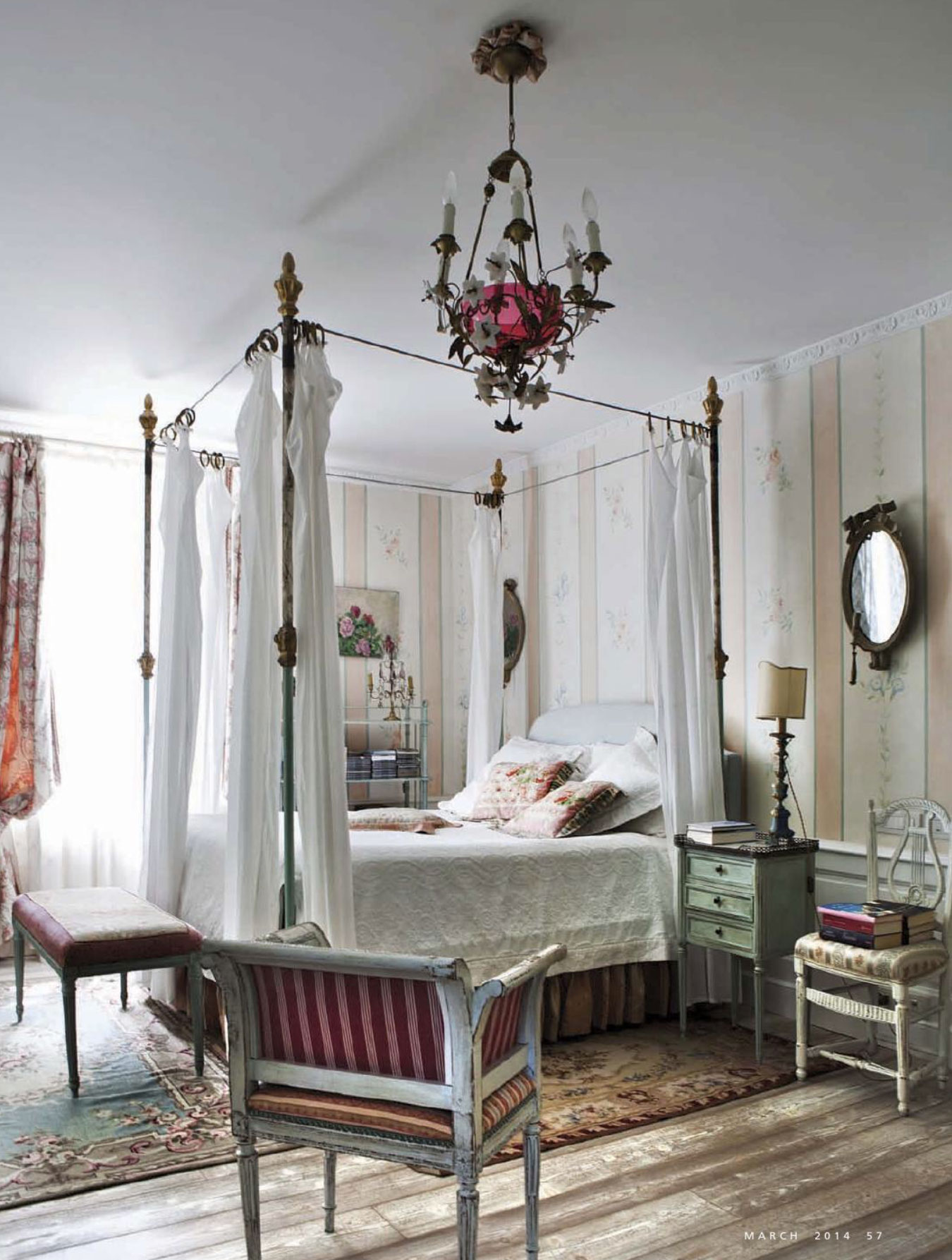 At home in provence interiors by color for Country cottage bedroom