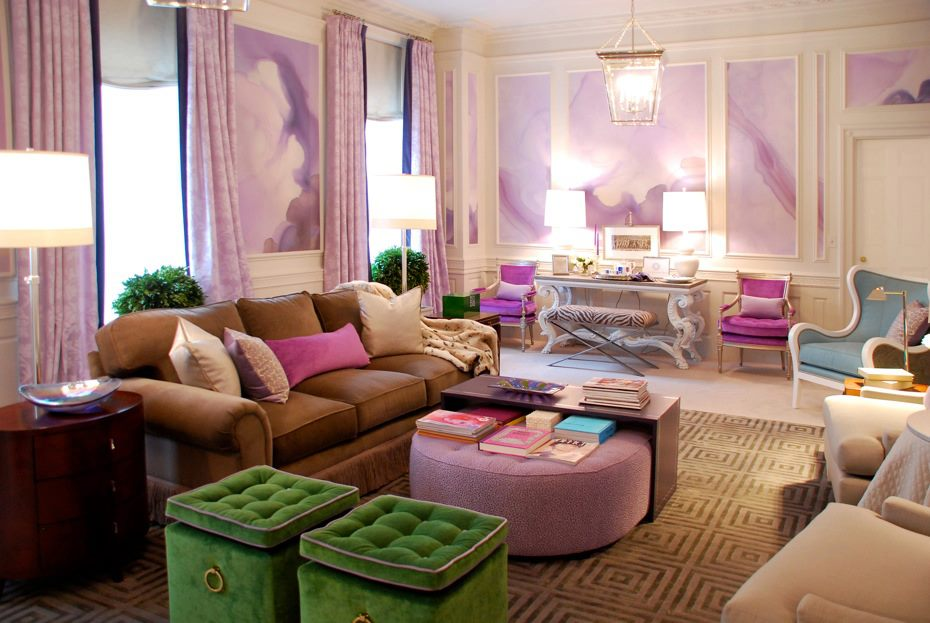 Purple Pink And Green Living Art Interiors By Color