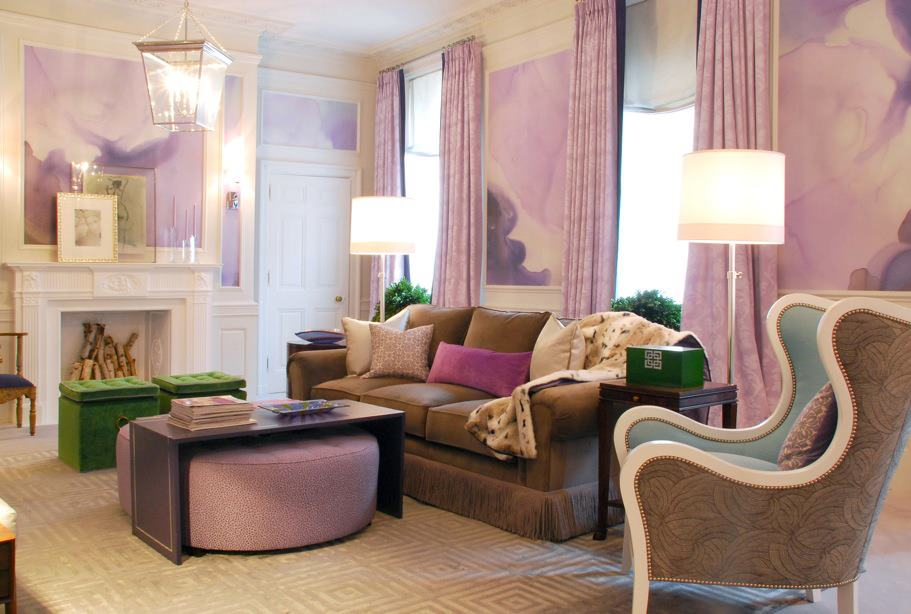 Purple pink and green living art interiors by color for Purple and green living room ideas